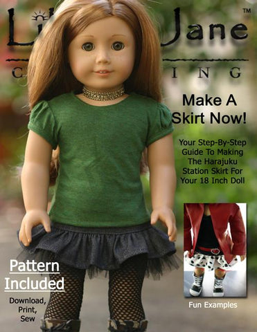"Liberty Jane 18 Inch Modern Harajuku Skirt 18"" Doll Clothes Pattern Pixie Faire"