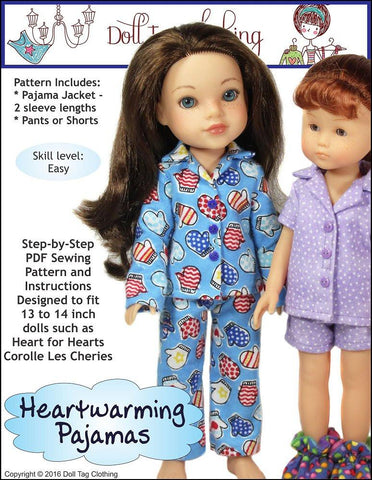 Doll Tag Clothing H4H/Les Cheries Heartwarming Pajamas Pattern for Les Cheries and Hearts For Hearts Girls Dolls Pixie Faire