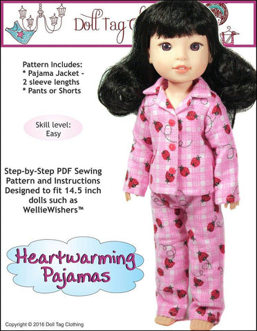 "Doll Tag Clothing WellieWishers Heartwarming Pajamas 14.5"" Doll Clothes Pattern Pixie Faire"