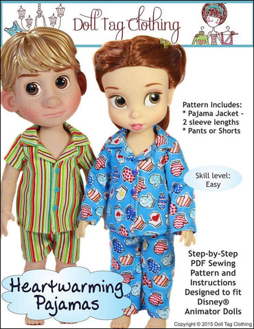 Doll Tag Clothing Disney Doll Heartwarming Pajamas Pattern for Disney Animator Dolls Pixie Faire