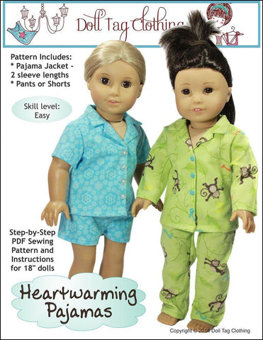 "Doll Tag Clothing 18 Inch Modern Heartwarming Pajamas 18"" Doll Clothes Pattern Pixie Faire"