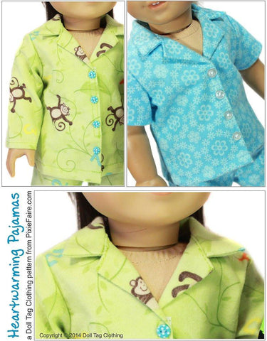 "Heartwarming Pajamas 18"" Doll Clothes Pattern"