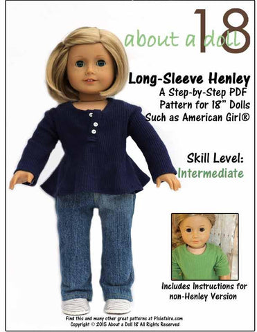 "About A Doll 18 18 Inch Modern Long-Sleeve Henley 18"" Doll Clothes Pattern Pixie Faire"