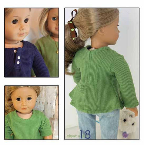 "Long-Sleeve Henley 18"" Doll Clothes Pattern"