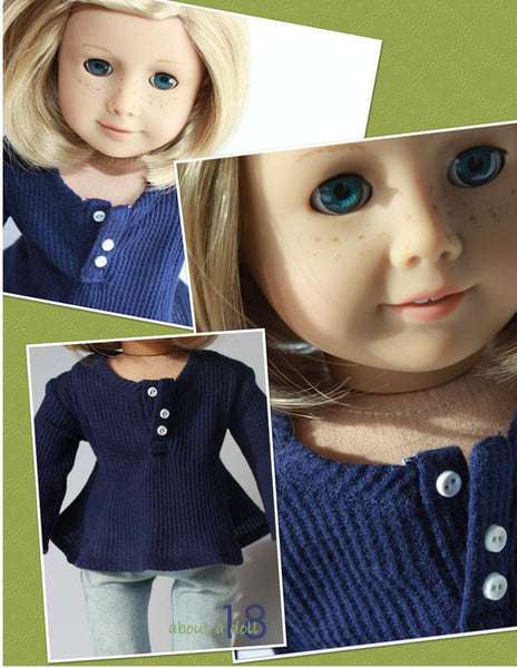 About A Doll 18 Long Sleeve Henley Doll Clothes Pattern 18