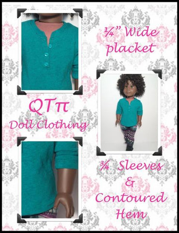 "QTπ Doll Clothing 18 Inch Modern Henley 18"" Doll Clothes Pixie Faire"