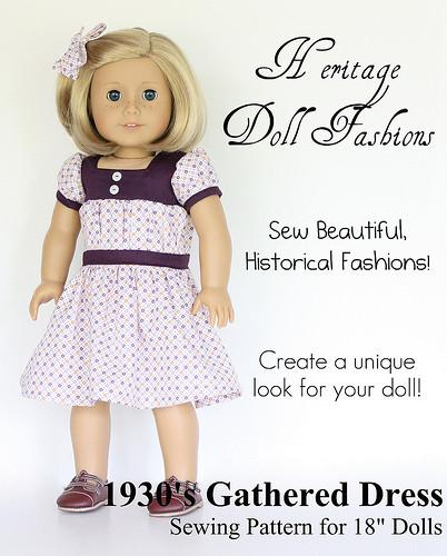 1930's Gathered Dress 18 Inch Doll Clothes Pattern PDF