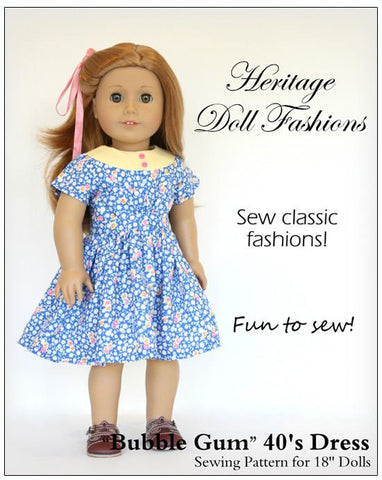 "1940's Bubblegum Dress 18"" Doll Clothes Pattern"