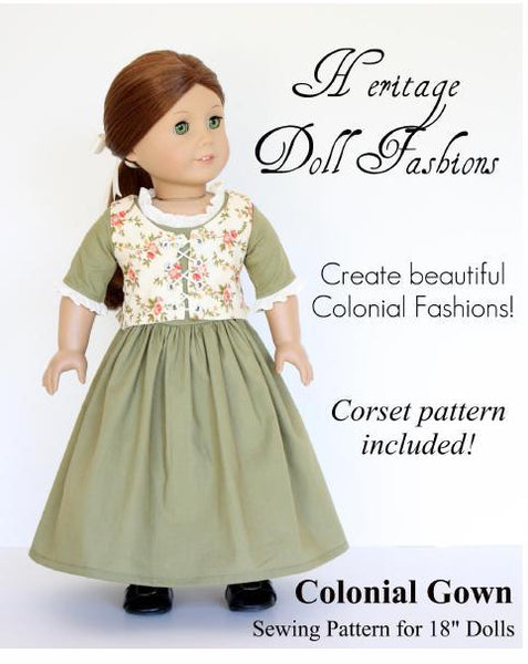 1774 Colonial Gown 18 Inch Doll Clothes Pattern PDF