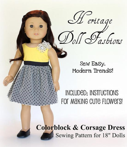 "Colorblock Dress 18"" Doll Clothes Pattern"