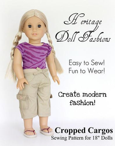"Cropped Cargo Pants 18"" Doll Clothes"