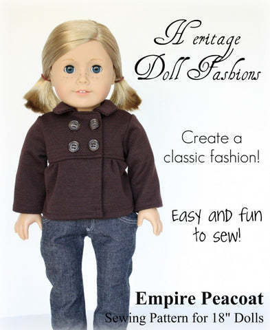 "Heritage Doll Fashions 18 Inch Modern Empire Peacoat 18"" Doll Clothes Pixie Faire"