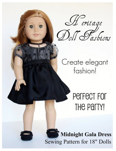 "Heritage Doll Fashions 18 Inch Modern Midnight Gala Dress 18"" Doll Clothes Pattern Pixie Faire"