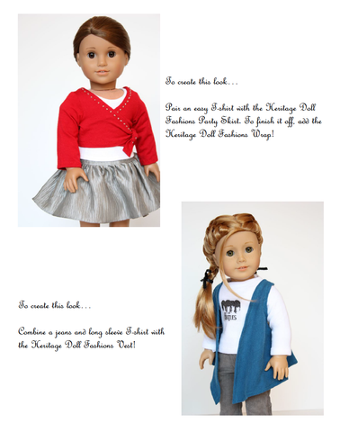 Wrap and Vest 18 inch Doll clothes pattern