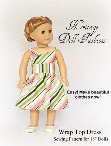 "Wrap Top Dress 18"" Doll Clothes Pattern"