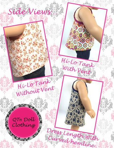 "Lace T-Back Hi-Lo Tank 18"" Doll Clothes Pattern"