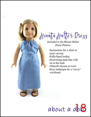 "Hinata Halter Dress 18"" Doll Clothes Pattern"