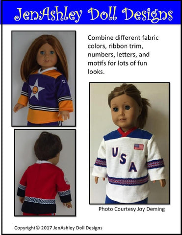 "Hockey Jersey 18"" Doll Clothes Pattern"