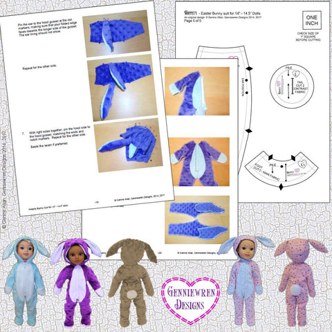 Hoppity Bunny Suit 14-14.5 Inch Doll Clothes Pattern
