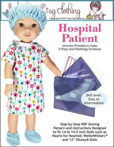 Doll Tag Clothing WellieWishers Hospital Patient Pattern for 13 to 14.5 Inch Dolls Pixie Faire
