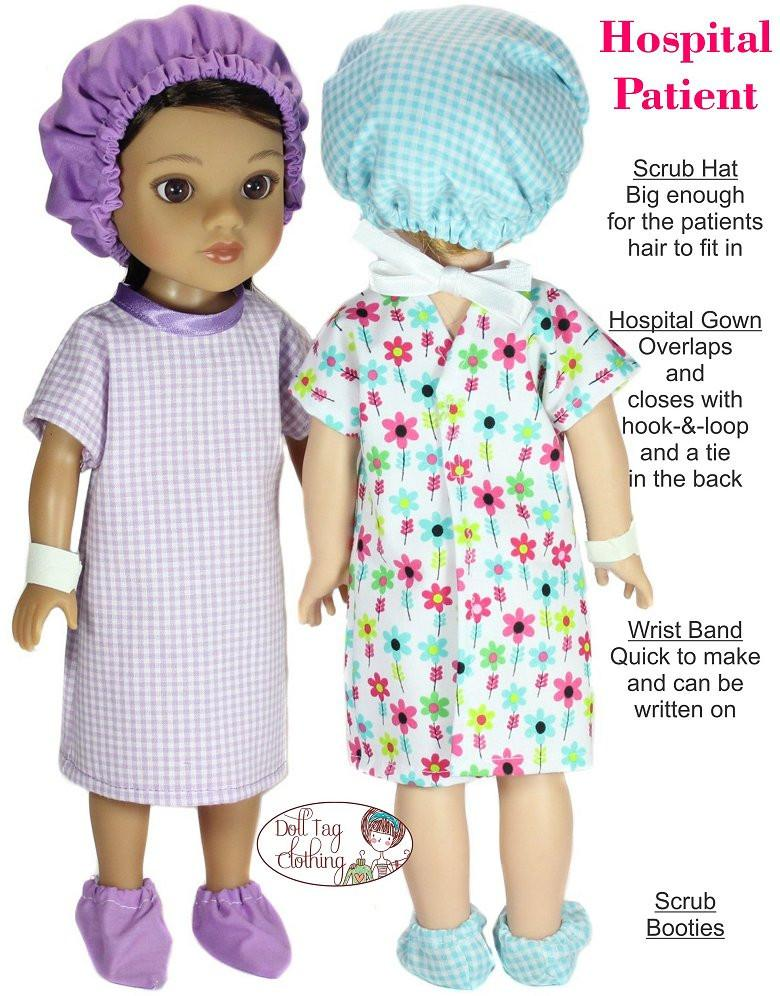 Doll Tag Clothing Hospital Patient 404040 Doll Clothes Pattern Impressive Hospital Gown Pattern