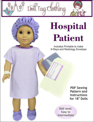 "Doll Tag Clothing 18 Inch Modern Hospital Patient 18"" Doll Clothes Pattern Pixie Faire"
