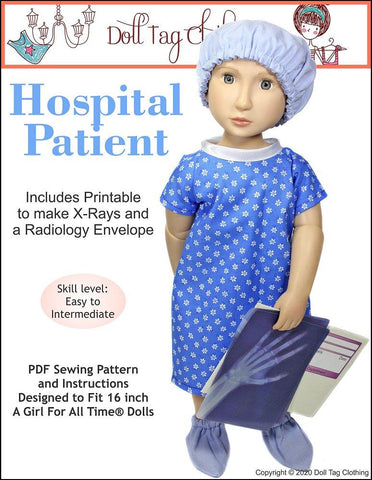 "Hospital Patient Doll Clothes Pattern for 16"" A Girl For All Time® Dolls"