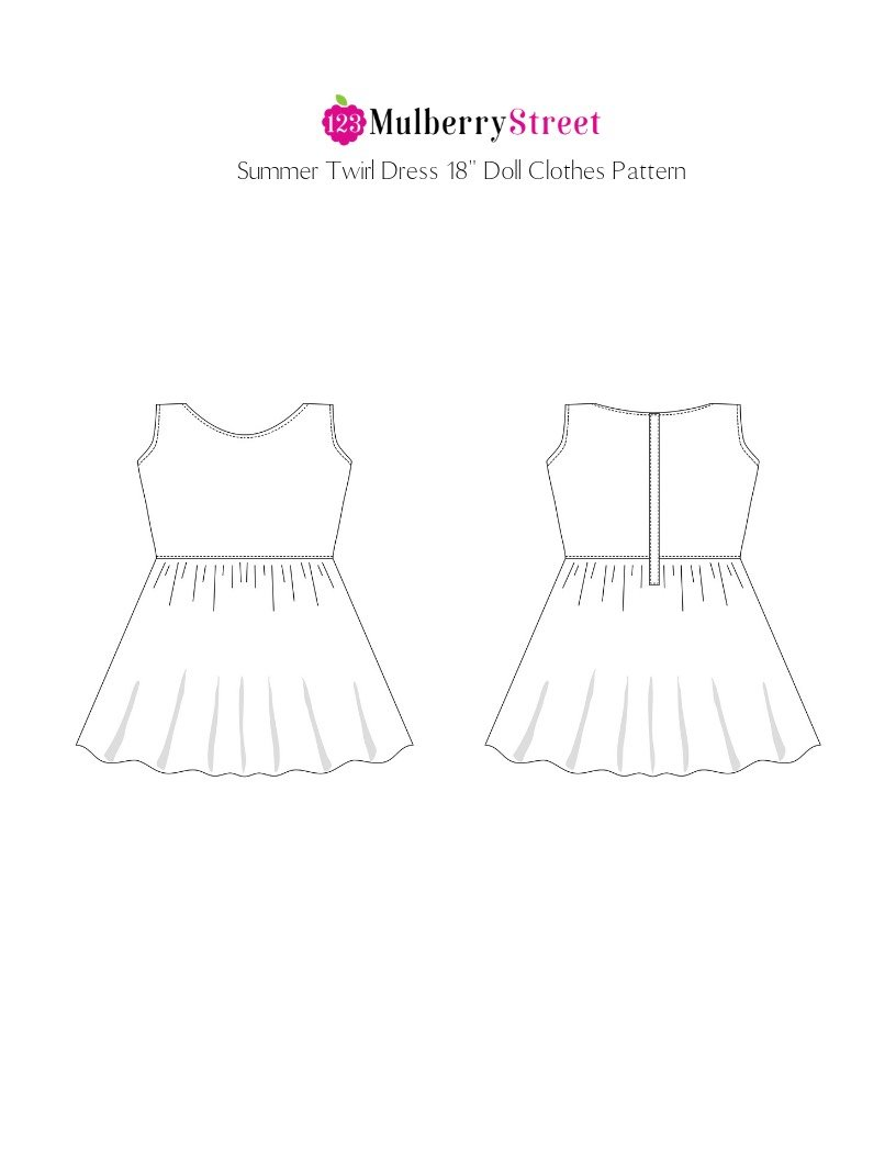 Summer Twirl Dress 18 inch Doll Clothes Pattern PDF