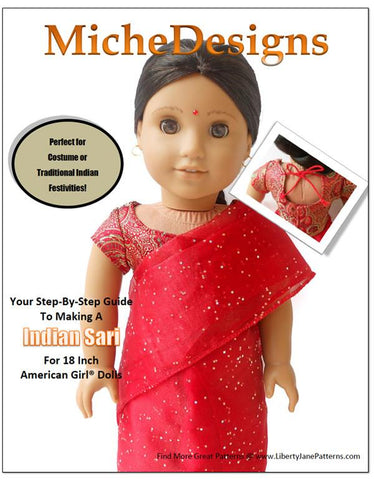 "Indian Sari 18"" Doll Clothes Pattern"