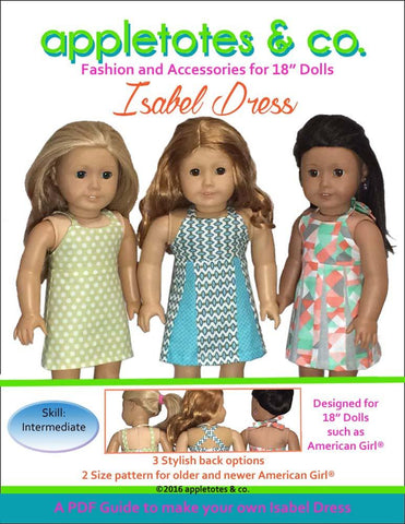 "Isabel Dress 18"" Doll Clothes Pattern"