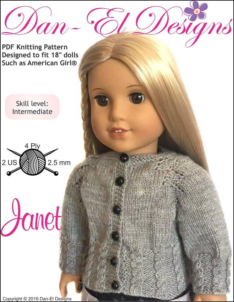 Dan-El Designs Janet Doll Clothes Knitting Pattern 18 inch ...