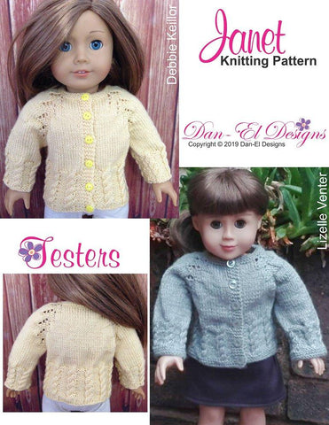 Dan-El Designs Janet sweater PDF knitting pattern designed to fit 18 inch American Girl dolls