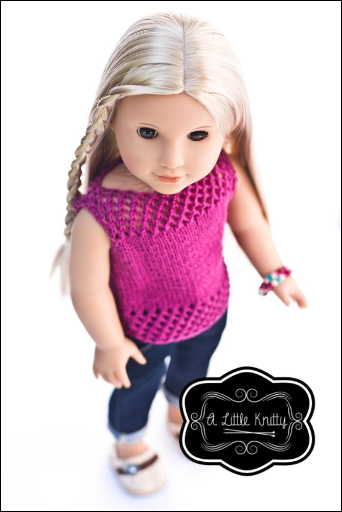 A Little Knitty Jessica Summer Sweater Doll Clothes Pattern 18 Inch