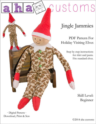 Jingle Jammies Pattern For Holiday Elf Dolls