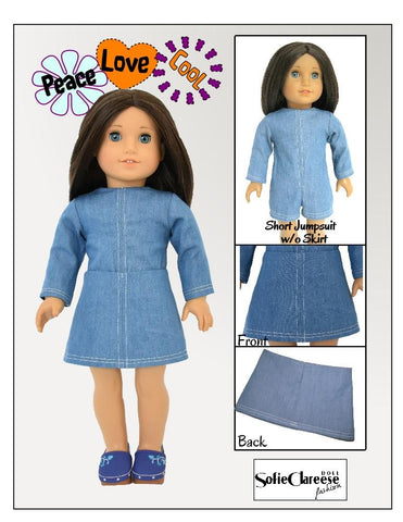 "Sofie's 60's - 70's Retro Jumpsuit Set 18"" Doll Clothes Pattern"