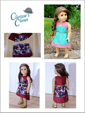 "Keyhole Dress 18"" Doll Clothes Pattern"