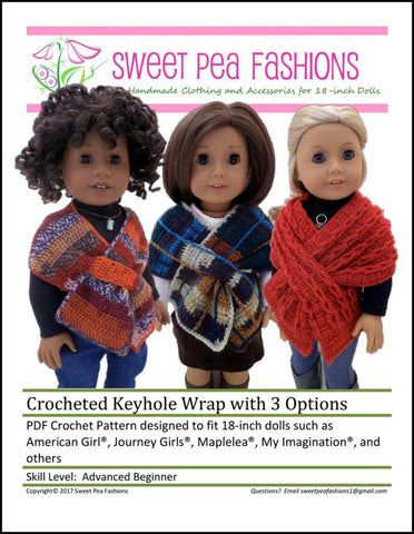 Sweet Pea Fashions Crochet Crocheted Keyhole Wrap with 3 Options Crochet Pattern Pixie Faire