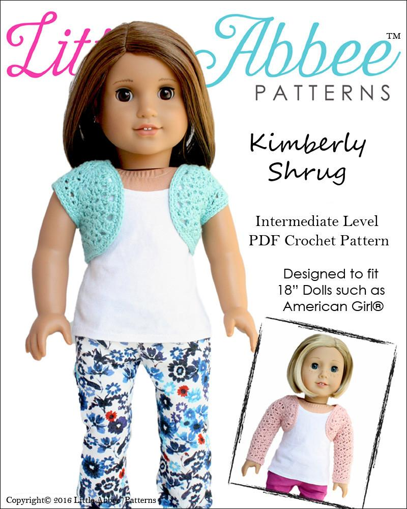 Little Abbee Kimberly Shrug Doll Clothes Pattern 18 inch American ...