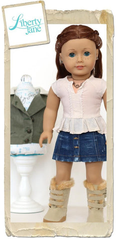 "Button Front Mini Skirt 18"" Doll Clothes pattern"