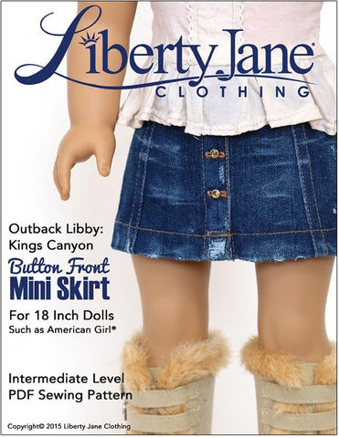 "Liberty Jane 18 Inch Modern Button Front Mini Skirt 18"" Doll Clothes pattern Pixie Faire"