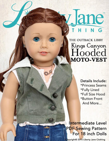 "Liberty Jane 18 Inch Modern Kings Canyon Hooded Moto Vest 18"" Doll Clothes Pattern Pixie Faire"