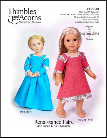 "Renaissance Faire Side Laced Kirtle Ensemble Bundle 16"" and 18"" Doll Clothes"