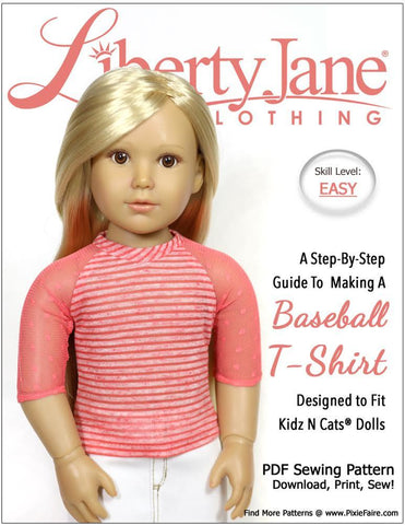 Liberty Jane Kidz n Cats Baseball T-Shirt Pattern for Kidz N Cats Dolls Pixie Faire