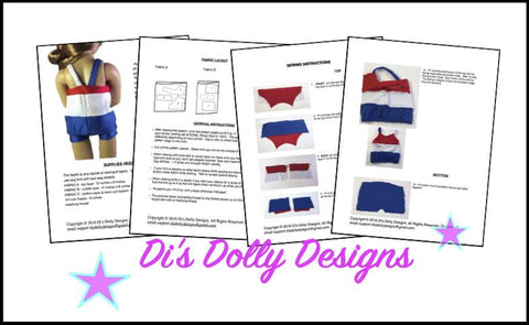 Di's Dolly Designs Kidz n Cats Seashore Swimsuit for Kidz N Cats Dolls Pixie Faire
