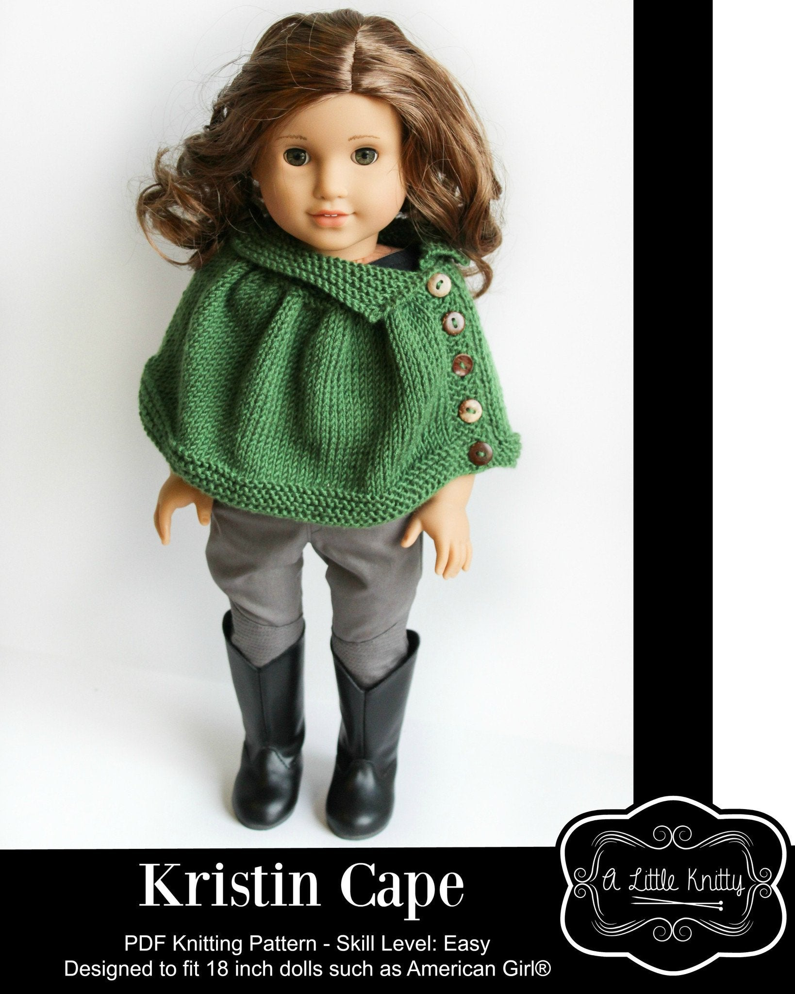 A Little Knitty Kristin Cape Doll Clothes Pattern 18 inch American ...