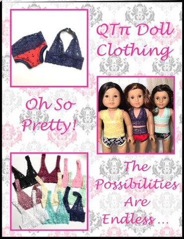 "Oh So Pretty Bralette and Panties 18"" Doll Clothes Pattern"