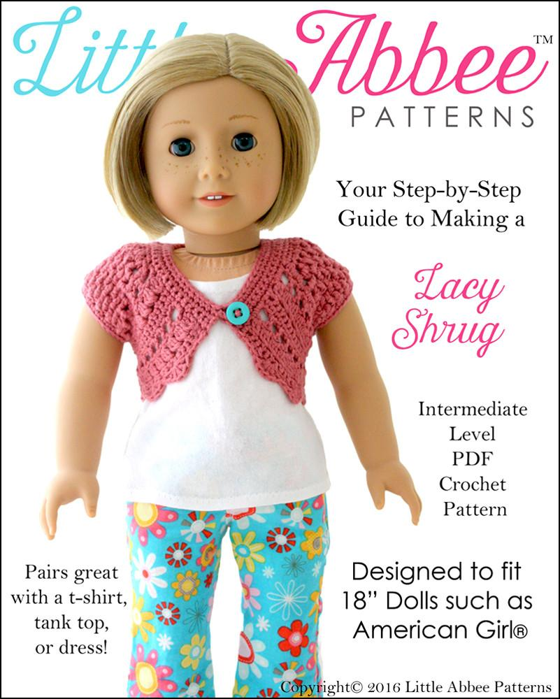 Little Abbee Lacy Shrug Doll Clothes Pattern 18 inch American Girl ...