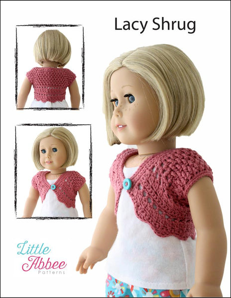 Little Abbee Lacy Shrug Doll Clothes Pattern 18 Inch