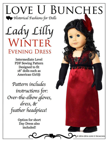 "Lady Lilly's Winter Evening Dress 18"" Doll Clothes"