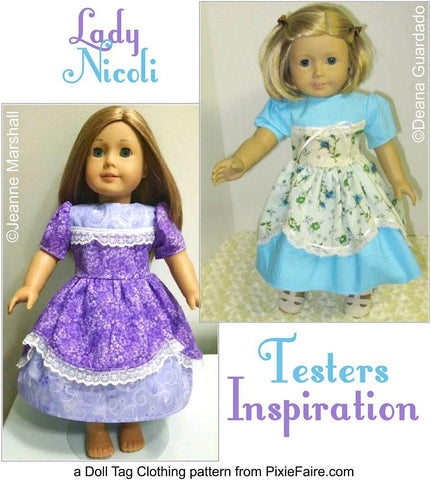 "Doll Tag Clothing 18 Inch Modern Lady Nicoli 18"" Doll Clothes Pattern Pixie Faire"